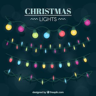 Pacote de luzes coloridas de natal