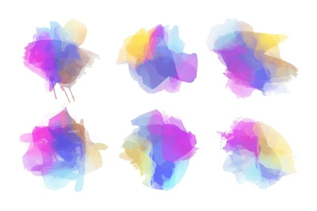 Pacote de manchas de aquarela colorida