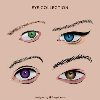 Pacote de mão colorida tirada olhos femininos
