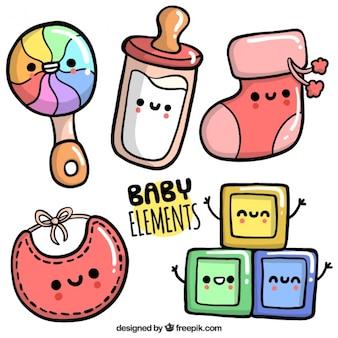 Pacote de mão desenhada acessórios para bebé