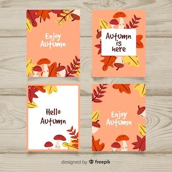 Pacote de mão desenhada cartões de outono
