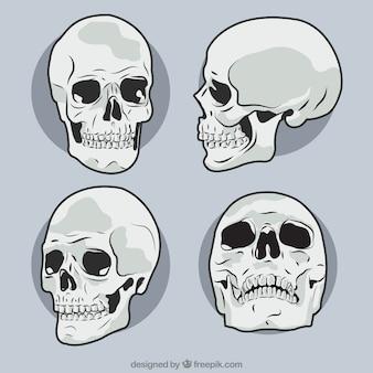 Pacote de mão desenhada crânios