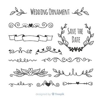 Pacote de mão desenhada enfeites de casamento
