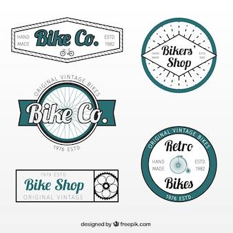 Pacote de mão desenhada retro emblemas bicicleta