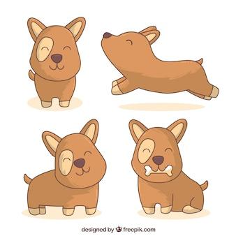 Pacote de mão puxado cães engraçados