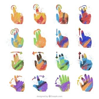 Pacote de mãos no design abstrato linguagem de sinais