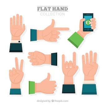 Pacote de mãos no design plano