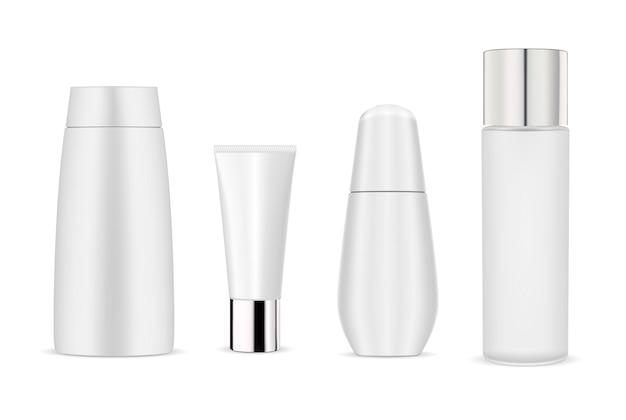 Pacote de maquete de garrafa cosmética branca. garrafa, tubo