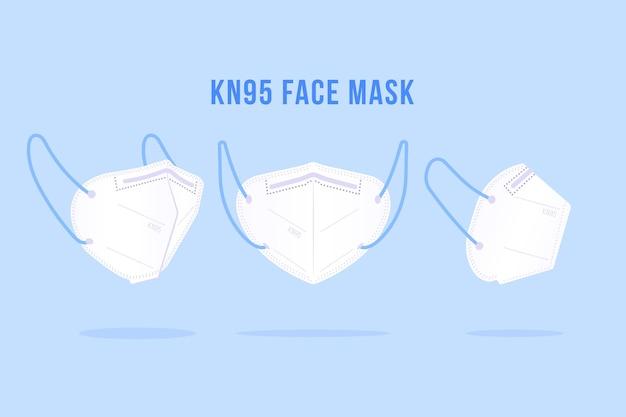 Pacote de máscara facial kn95 em diferentes perspectivas