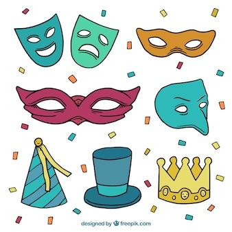Pacote de máscaras de carnaval e elementos do partido