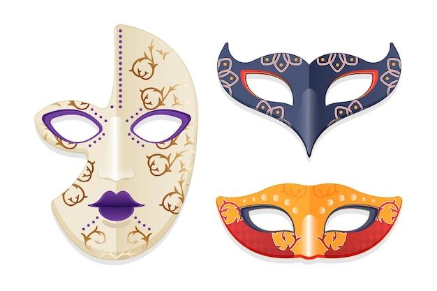 Pacote de máscaras de carnaval veneziano em fundo branco