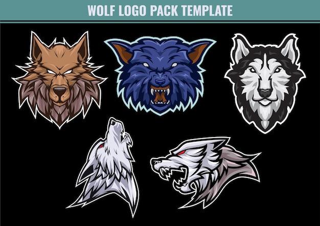 Pacote de mascote do logotipo wolf para todos vocês que têm uma equipe esportiva ou de jogo e amam lobos
