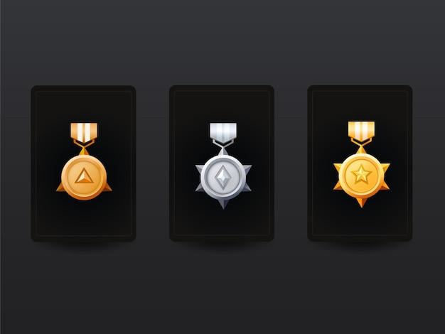 Pacote de medalha de recompensa ganhador de ouro e prata