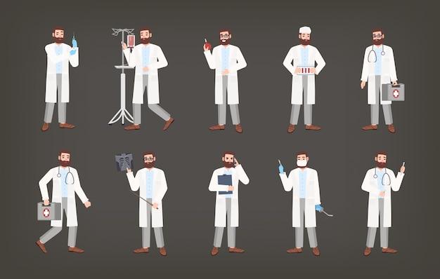 Pacote de médico masculino, médico ou cirurgião em pé em várias poses. conjunto de homem barbudo, vestido de jaleco branco, segurando o equipamento médico - seringa, ducha, imagem de raio-x, bisturi. ilustração.