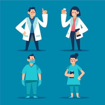 Pacote de médicos e enfermeiros na linha de frente