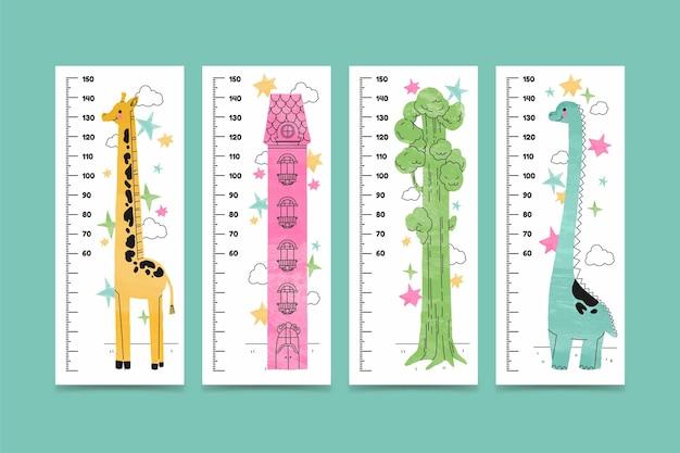 Pacote de medidor de altura desenhado