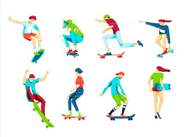 Pacote de meninos e meninas adolescentes ou skatistas andando de skate.