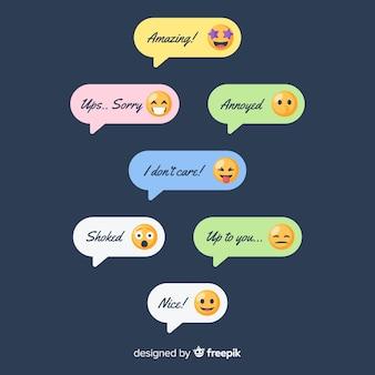 Pacote de mensagens com emojis