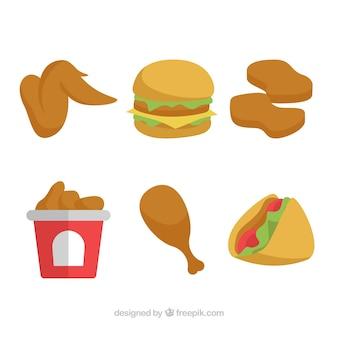 Pacote de menu de frango frito e hambúrguer