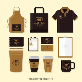 Pacote de merchandising de café e artigos de papelaria
