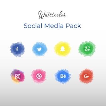 Pacote de mídia social em aquarela
