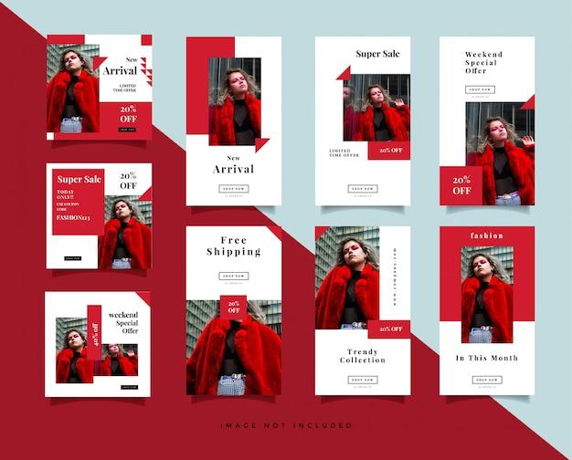 Pacote de mídia social minimalista post & instagram stories design template
