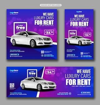 Pacote de mídia social para aluguel de automóveis
