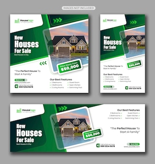 Pacote de mídia social para venda de imóveis em casa