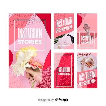 Pacote de modelo abstrato de histórias do instagram