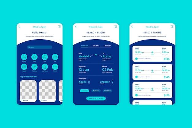 Pacote de modelo de aplicativo de reserva de viagem