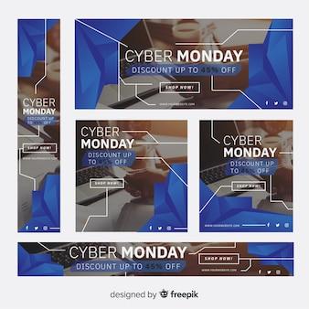 Pacote de modelo de bandeira geométrica fotográfico cyber segunda-feira