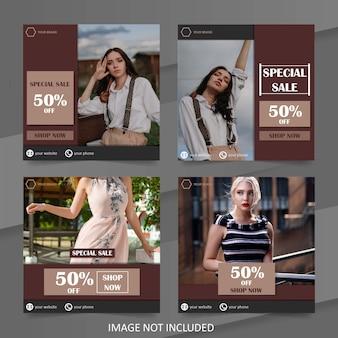 Pacote de modelo de banner de moda de venda de mídia social simples