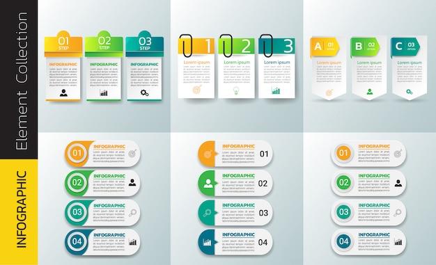 Pacote de modelo de design de infográficos.