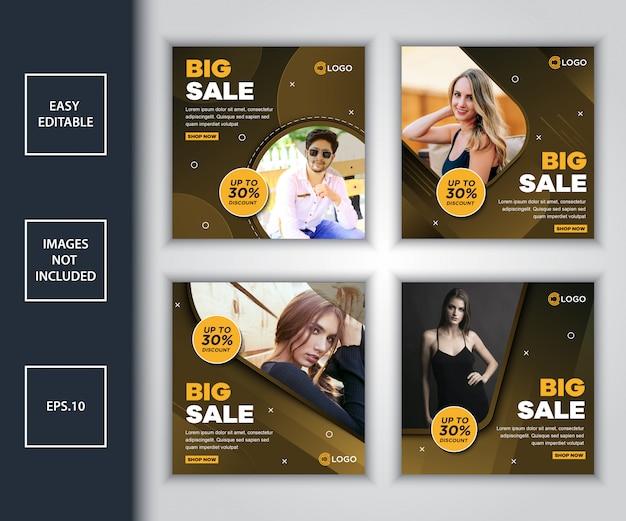 Pacote de modelo de design de mídia social de promoção de venda
