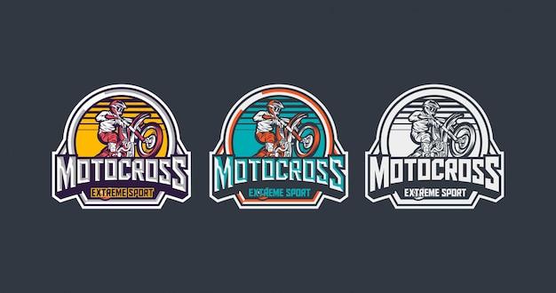 Pacote de modelo de distintivo vintage premium de esporte radical de motocross