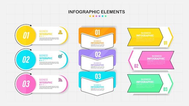 Pacote de modelo de elemento de infográficos.
