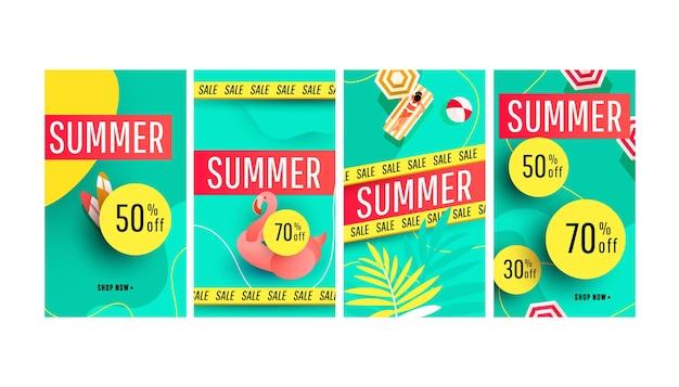 Pacote de modelo de história de banner de verão com acessórios de praia, palmeira tropical verde