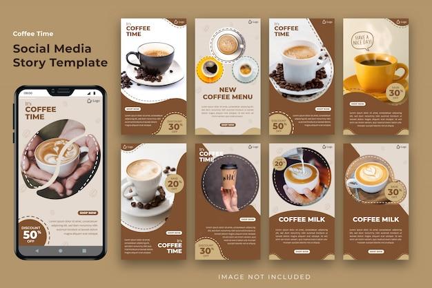 Pacote de modelo de história de mídia social de café