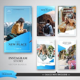 Pacote de modelo de histórias de viajante instagram na cor azul.