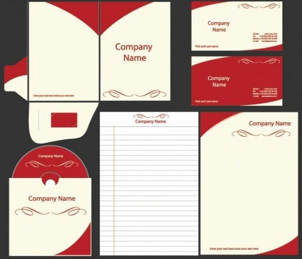 Pacote de modelo de identidade do negócio vermelho