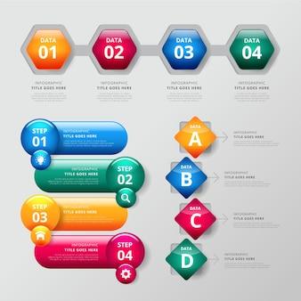 Pacote de modelo de infográfico de elementos brilhantes