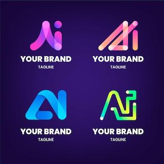 Pacote de modelo de logotipo ai gradiente de design plano