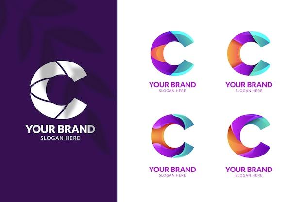 Pacote de modelo de logotipo c em gradiente