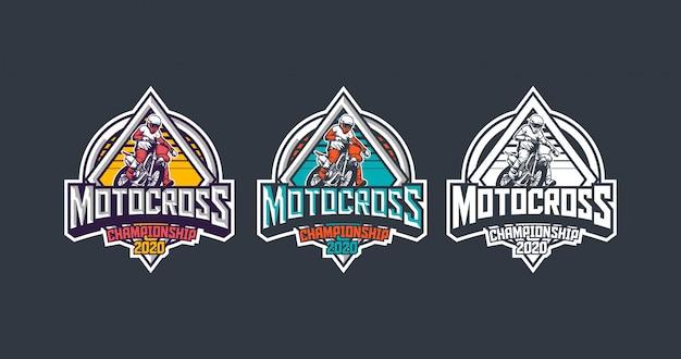 Pacote de modelo de logotipo de distintivo vintage premium de campeonato de motocross 2020