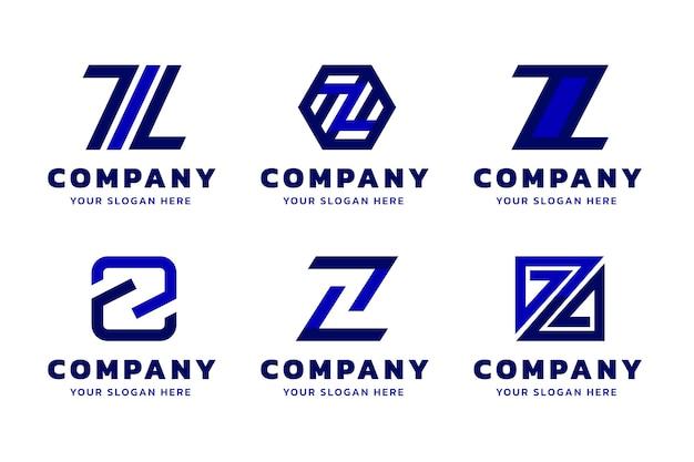 Pacote de modelo de logotipo de letra z design plano