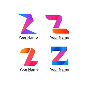Pacote de modelo de logotipo de letra z gradiente