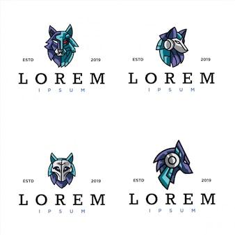 Pacote de modelo de logotipo de lobo cibernético