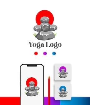 Pacote de modelo de logotipo de meditação ioga rock em gradiente