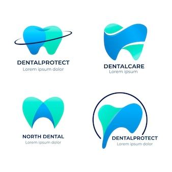 Pacote de modelo de logotipo dentário gradiente