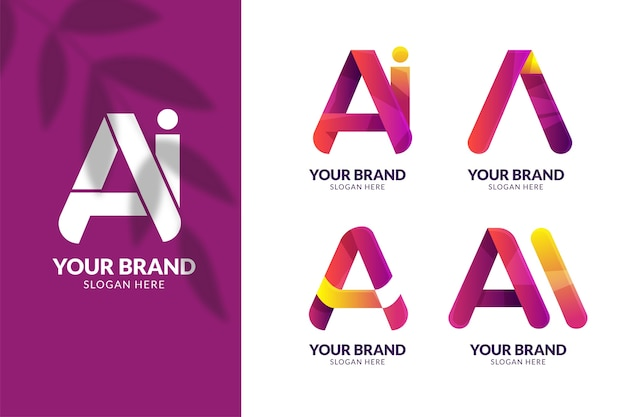 Pacote de modelo de logotipo gradiente ai